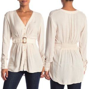 Free People White Back in the Spotlight Shirt NWT